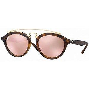New Gatsby Oval Ray Ban - Lente Rosa Armação Tartaruga -RB4257 60922Y