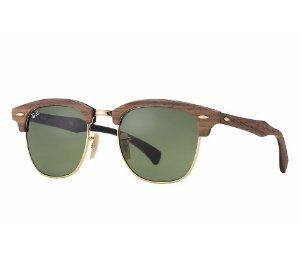 Ray Ban Clubmaster Wood - Lente Verde - RB3016M 11824E 51-21