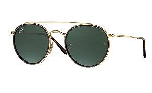 Ray Ban ROUND DOUBLE BRIDGE -  Armação Dourada - lentes Verde Classico -RB3647N