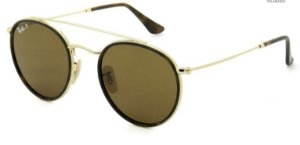 RAY BAN  ROUND DOUBLE BRIDGE LENTE MARROM RB3647N