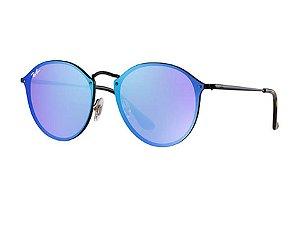 BLAZE ROUND RB3574N 90351U 59-14 lentes violeta azulada e armação cobre dourada