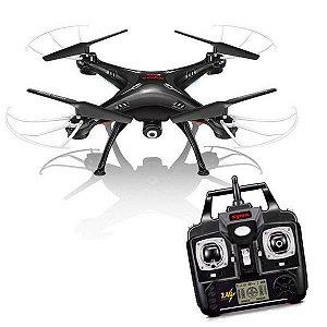 Drone Syma Real Time FPV X5SW Wi Fi 2.4GHz 4 Canais/6 Eixos c/ Câmera HD - Preto.
