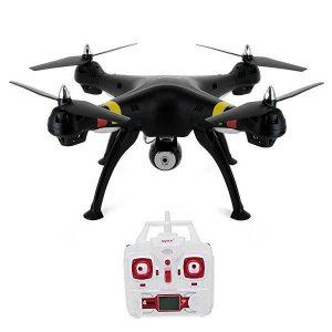 Drone Syma FPV Real Time X8W Wi Fi 2.4GHz 4 Canais/6 Eixos c/ Câmera HD - Preto.