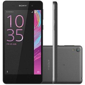 "Smartphone Sony Xperia E5 F3311 16GB LTE 1Sim Tela 5.0""HD Câm.13MP+5MP-Grafite/Preto"