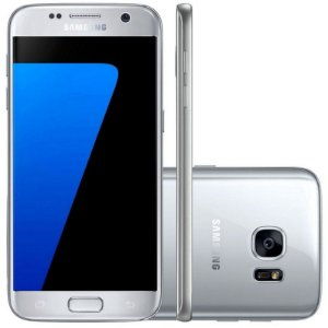 "Smartphone Samsung Galaxy S7 SM-G930F 32GB LTE 1Sim Tela 5.1"" QHD Câm.12MP+5MP-Prata"