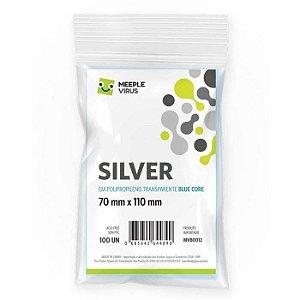 Sleeves Silver 70 x 110 mm Blue Core - Meeple Virus