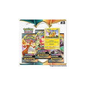 Cards Pokémon - Blister Triplo - Escuridão Incandescente - Pikachu - Copag
