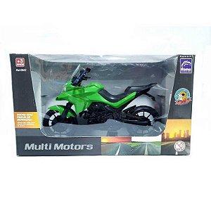Moto Infantil Multi Motors Verde - 26,5cm - Pneus Borracha - Roma