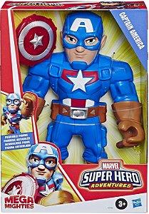 Boneco Super Hero Adventures - Capitão América - Mega Mighties - 25cm - Hasbro