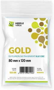 Sleeves Gold 80 x 120 mm Blue Core - Meeple Virus