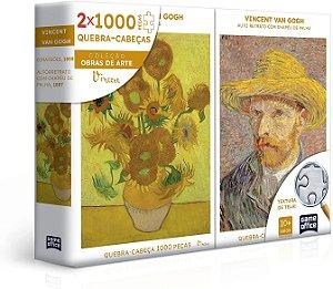 Vincent Van Gogh - Retrato e Girassóis - Quebra-cabeça