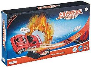 Pista Express Wheels Fast Lane Com 1 Carrinho E 7 Pcs