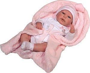 Bebê Reborn Olho Aberto Baby Brink Roupa Rosa Rosa