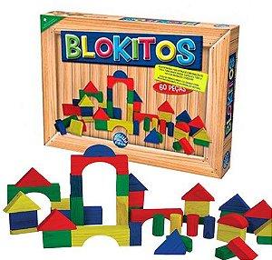Blokitos em Madeira com 60 Peças Coloridas 2915 - Pais e Filhos