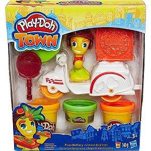 Massa de Modelar Com Figura e Veículo - Play Doh Town - Entregador de Pizza - Hasbro