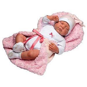 Boneca Bebê Reborn Rosa Olhos Fechados - Novabrink