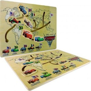 Labirinto De Madeira Divertido Carros Países Educativo Disney