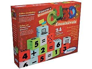 Cubos Encaixáveis Números e Quantidades 24 Peças - Xalingo