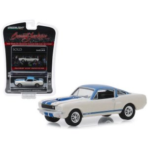 "1966 Ford Mustang Shelby GT350 Prototype #001 White w/Blue Top & Blue Stripes ""Barrett Jackson"" 1/64 Diecast Greenlight"