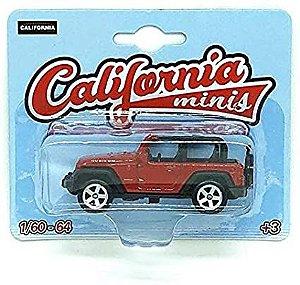 Miniatura Carro Jeep Wrangler Rubicon - Vermelho - 1:60-64 - California Minis Ref.: 1720161