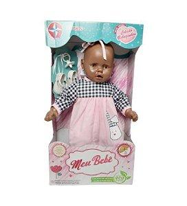 Boneca Meu Bebê Negro Vestido Rosa 60 cm Estrela
