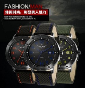 Relógio masculino estilo militar marca VILAM resistente a água 30m