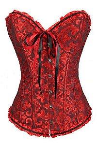 Mulheres Top de Cetim Bordado Overbust Corpetes Espartilhos Sexy Corselet Plus Size S-4XL sexy lingerie hot sale LC5085