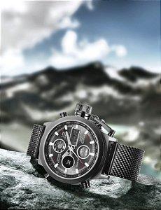 2017 Novos Homens Marca de Moda LEVOU Relógios Desportivos Relógio de Quartzo dos homens Homem Milanese Cinta Exército Militar À Prova D' Água Grande Coroa relógio