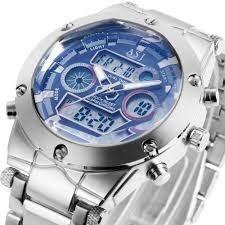 Relógio masculino Elegante esporte ASJ aço à prova de água ao ar livre militar do exército LED digital relógio de pulso de quartzo relógio de natação 105