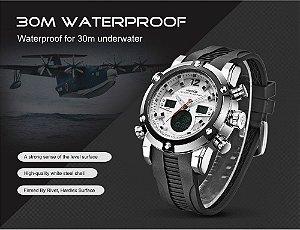 Weide Multifunction Sport Watch Digital à prova d ' água 3ATM dos homens de quartzo de movimento analógico Digital data alarme militar homens cronômetro