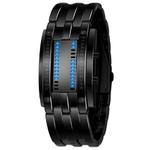 Multi função relógio dos homens de luxo em aço inoxidável relógio Digital LED banda data hora pulseira esporte relógios reloj hombre