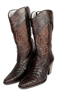 Bota Texana Feminina Couro Bovino Escamado Rodeio Boots