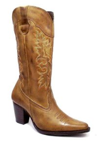 Bota Texana Feminina Couro Bege Rodeio Boots