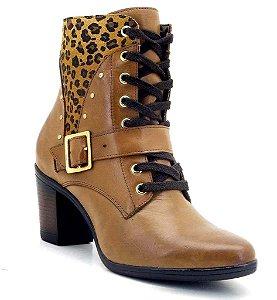 Ankle Boot Couro Legítmo cor Caramelo