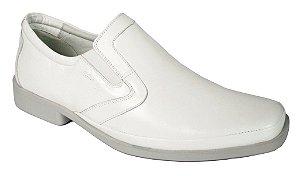 Sapato Branco Couro Carneiro Super Confortável Sola Borracha