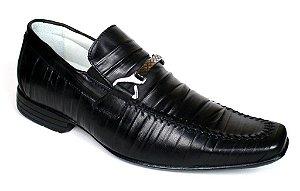 Sapato Preto Masculino em Couro Legítimo Sola de Borracha