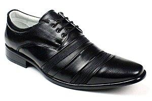 Sapato Social em Couro Natural Preto ou Marrom com Cadarço