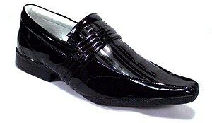 Sapato Social Masculino Verniz Preto Couro Legítimo Palmilha Gel