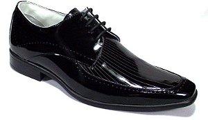 Sapato Social Verniz Preto Masculino com Cadarço Palmilha Gel
