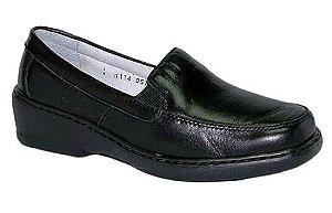 Sapato Preto Feminino Linha Confort em Couro de Carneiro