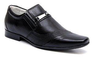 Sapato  Preto Masculino em Couro Sola de Borracha