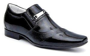 Sapato Verniz Preto Masculino em Couro Sola de Borracha