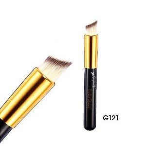 Pincel Kabuki Chanfrado Linha Gold Macrilan profissional G121