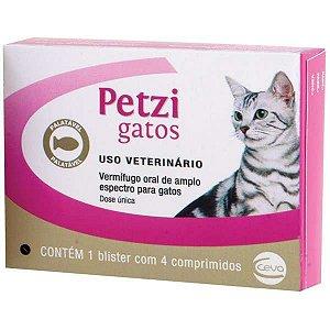Vermífugo Petzi Gatos Caixa com 4 comprimidos