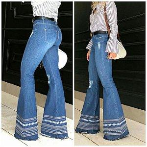 Calça Flare Jeans Cintura Alta
