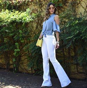 Calça jeans Branca Cintura Intermediaria