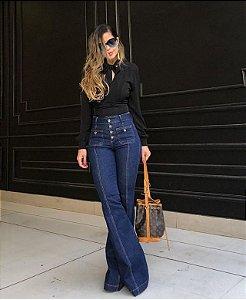 Calça jeans Flare Feminina com Botões