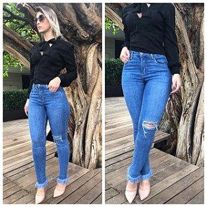 Calça Jeans Skinny Feminina Cintura Alta Detalhe Xadrez