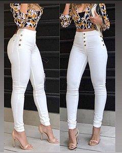 Calça Skinny Branca Botões