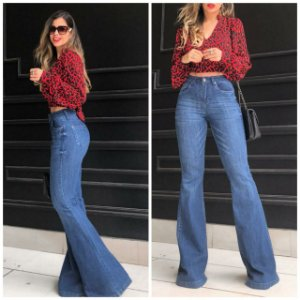 Calça Flare Jeans Básica Feminina